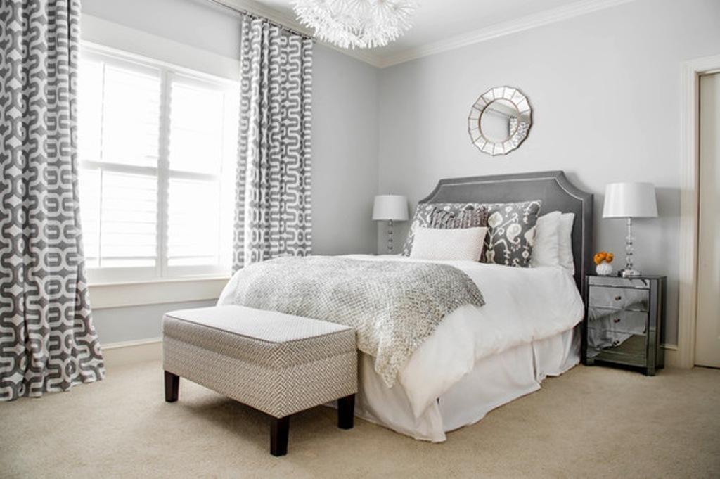 white grey silver bedroom geometric