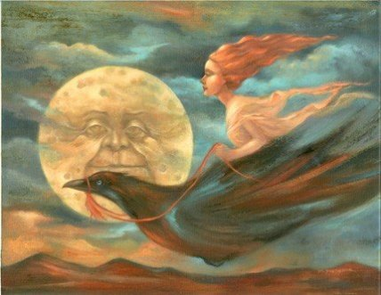 Image about full moon crow in Atom Eve by & Red