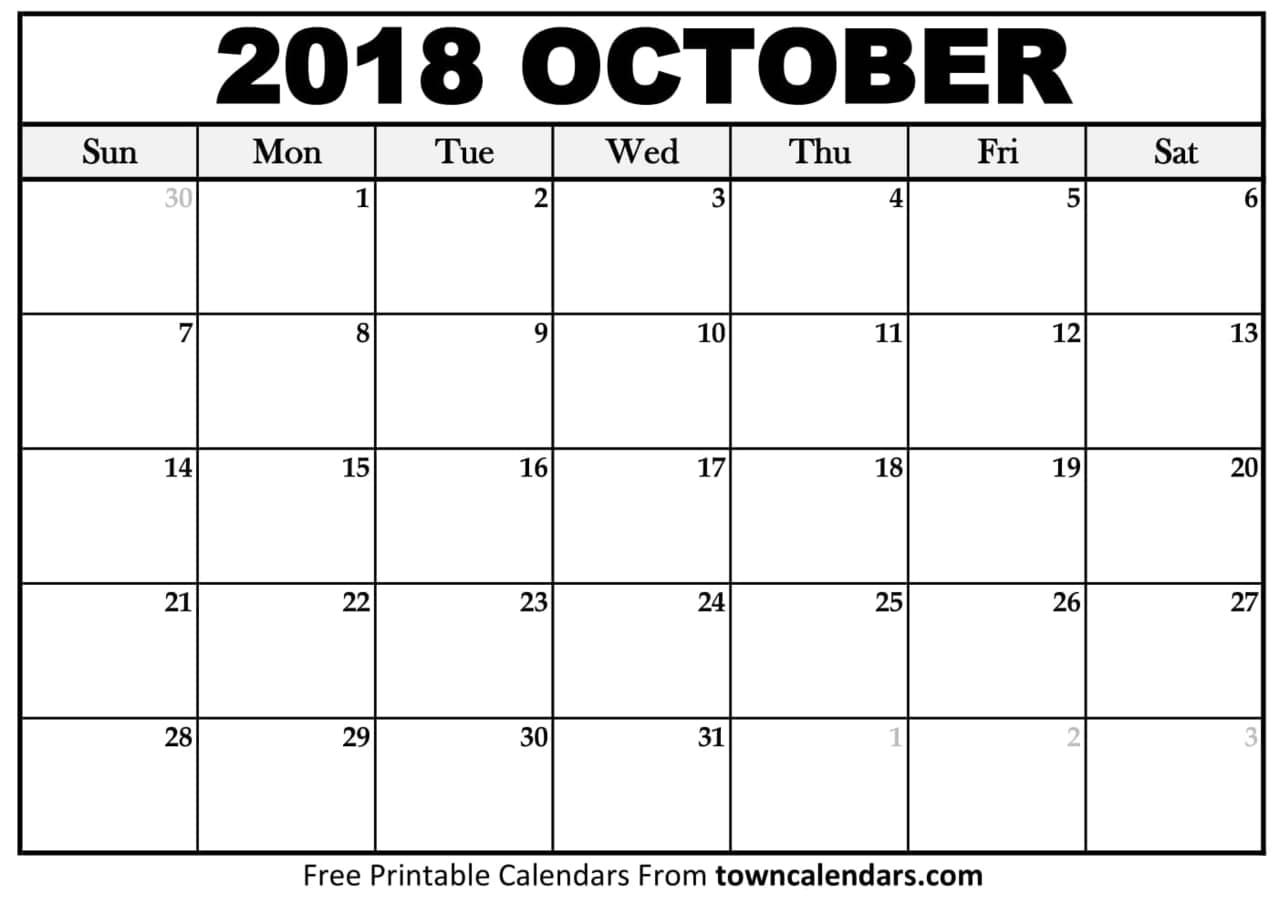 october 2018 calendar on