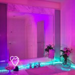 Bathroom Aesthetic With A Pink Purple And Green Led Lights Glow