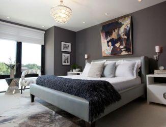 pared de color gris oscuro en el dormitorio moderno