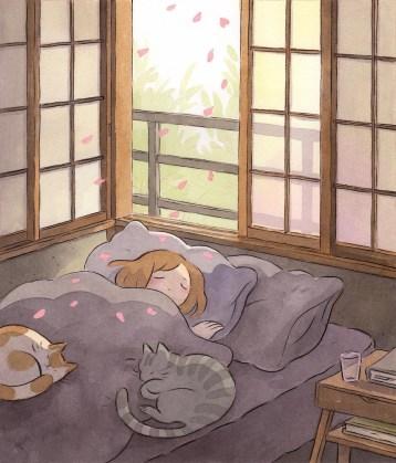art, bed, and cats tumblr anime art heikala.com