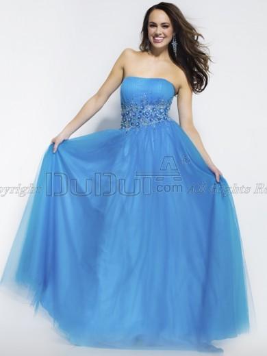 A linha-tule-strapless-tube-top-chão de comprimento renda-se-crystal-strass-beading-baile-vestidos-1_large
