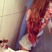 red dipped wavy hair - hairstyles