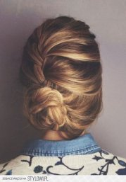 french braid bun heart