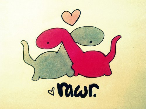 "a sktech of two long-neck dinosaurs with their neck crossed and heart over the hearts labelled ""rawr"""