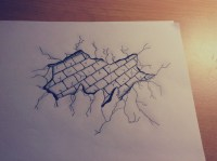Draw: Cracked Brick Wall   draw, picture and black&white