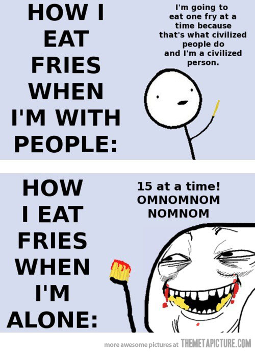 Eating Alone Funny : eating, alone, funny, Funny, Eating, Fries, Alone, Discovered, Allhumorpic