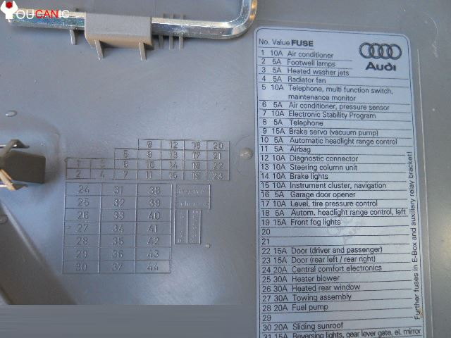 Fuse Box Arrangement Likewise Vw Golf Fuse Box Diagram On Audi A4 B6