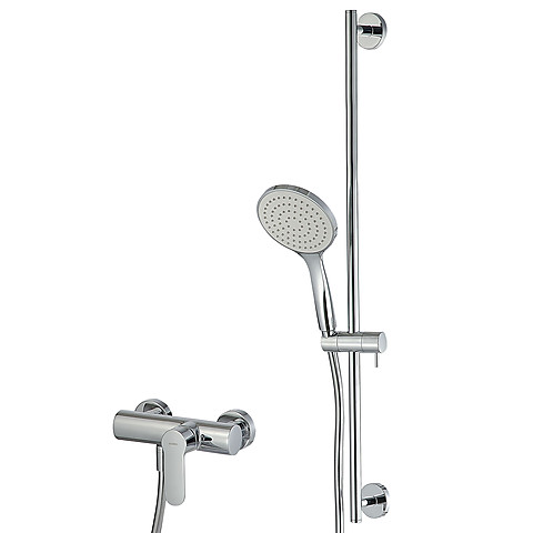 External shower single lever mixer with sliding bar and