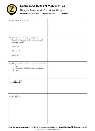 Bilangan berpangkat dan bentuk akar. Bab 05 Bilangan Berpangkat 1 Pangkat Sebenarnya Latihan Soal