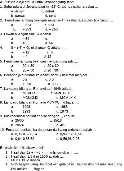 Promo & diskon murah ⚡100% original ✓ 15 hari retur. Top Pdf Soal Matematika Kelas 4 123dok Com