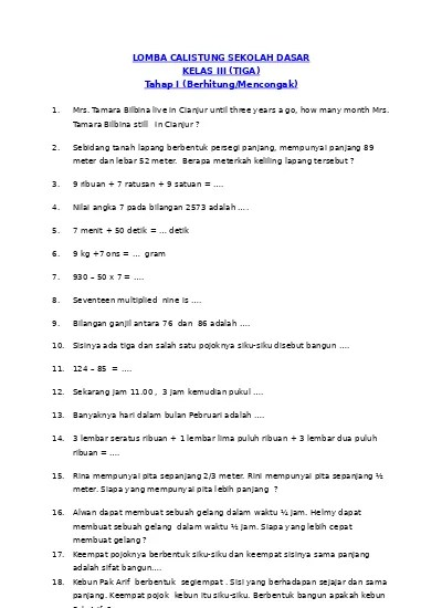 Guru sd smp sma contoh soal calistung sd kls 3. Top Pdf Soal Calistung Kelas 3 123dok Com