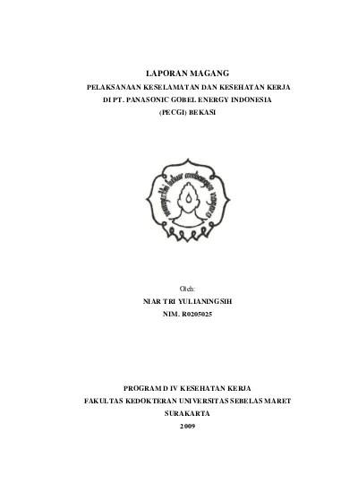 Panasonic Gobel Energy Indonesia : panasonic, gobel, energy, indonesia, LAPORAN, MAGANG, PELAKSANAAN, KESELAMATAN, KESEHATAN, KERJA, PANASONIC, GOBEL, ENERGY, INDONESIA, (PECGI), BEKASI