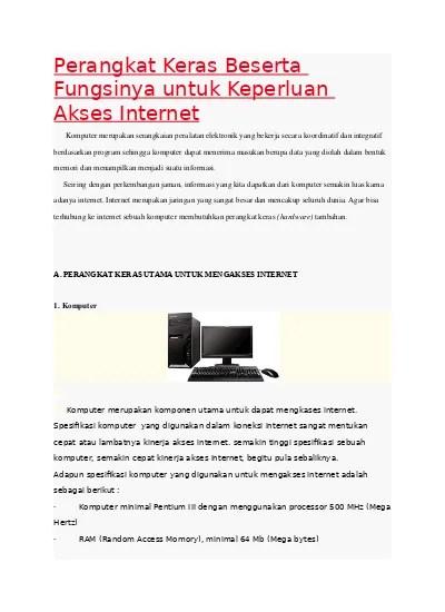 Perangkat Akses Internet Dan Fungsinya : perangkat, akses, internet, fungsinya, Perangkat, Keras, Beserta, Fungsinya, Untuk