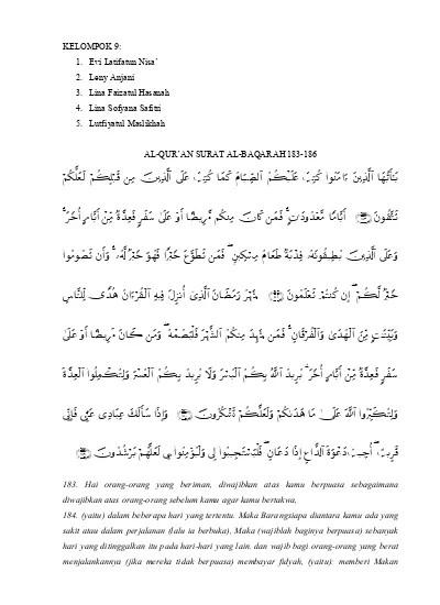 Al Baqarah Ayat 183 Dan Artinya : baqarah, artinya, Tafsir, Baqarah
