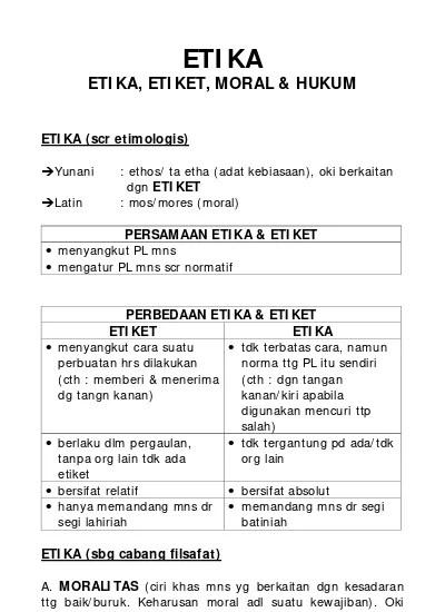 Perbedaan Etika dan Etiket (Penjelasan Lengkap dan Tabel)