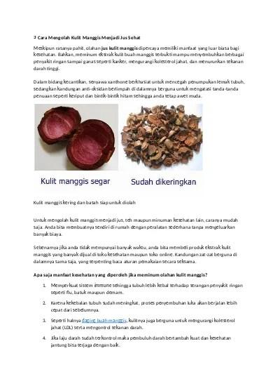 Cara Memasak Kulit Manggis : memasak, kulit, manggis, Mengolah, Kulit, Manggis, Menjadi