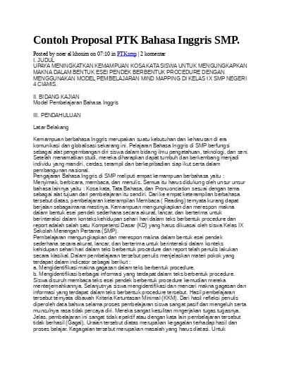 Ptk Bahasa Inggris Smp Pdf : bahasa, inggris, Contoh, Proposal, Bahasa, Inggris, 123dok.com