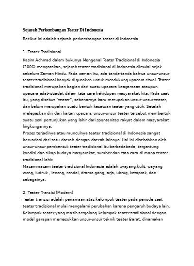 Sejarah Teater Tradisional : sejarah, teater, tradisional, Sejarah, Perkembangan, Teater, Indonesia