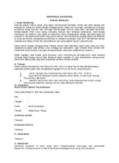 Contoh Proposal Halal Bihalal : contoh, proposal, halal, bihalal, PROPOSAL, KEGIATAN, HALAL, BIHALAL