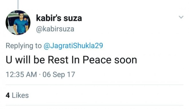Death threat to Jagrati Shukla