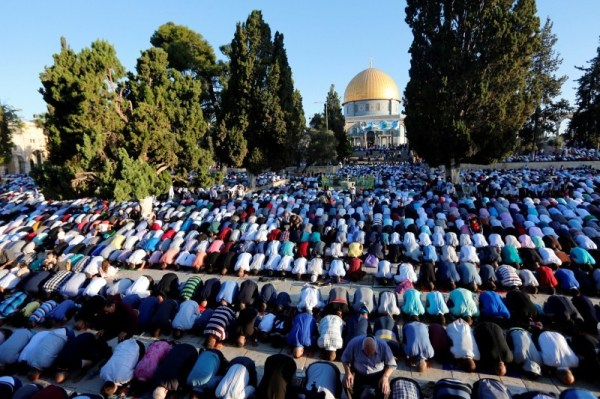Muslims offer Eid alAdha Bakrid prayers around the