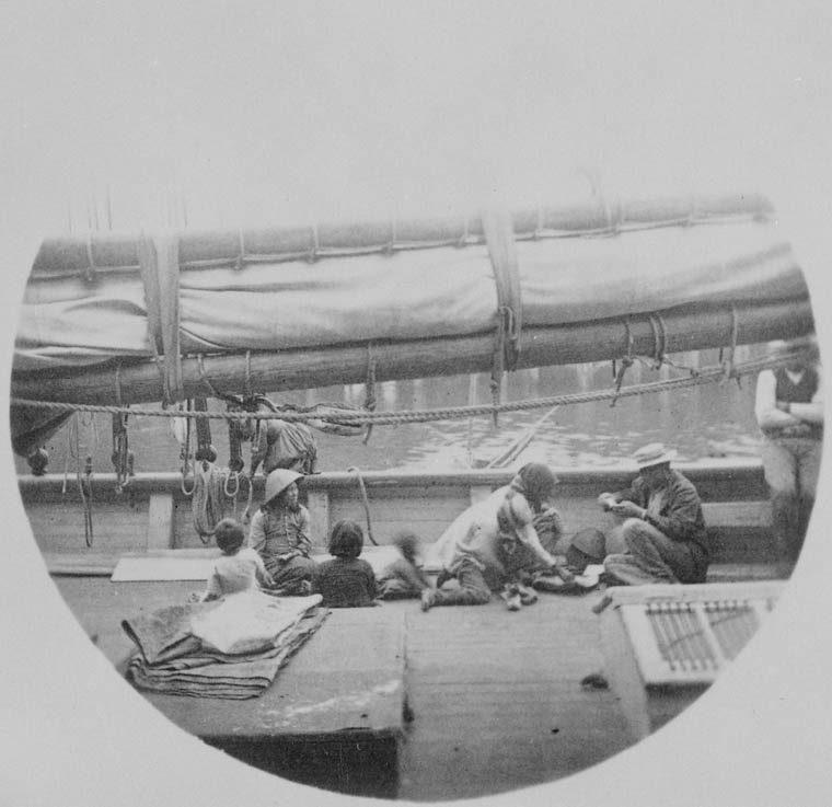 Chinese immigrants on the deck of the Black Diamond (sailing vessel, BC). c 1889