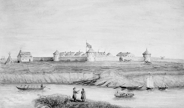 Drawing of a panoramic view of Fort Garry, 1868.