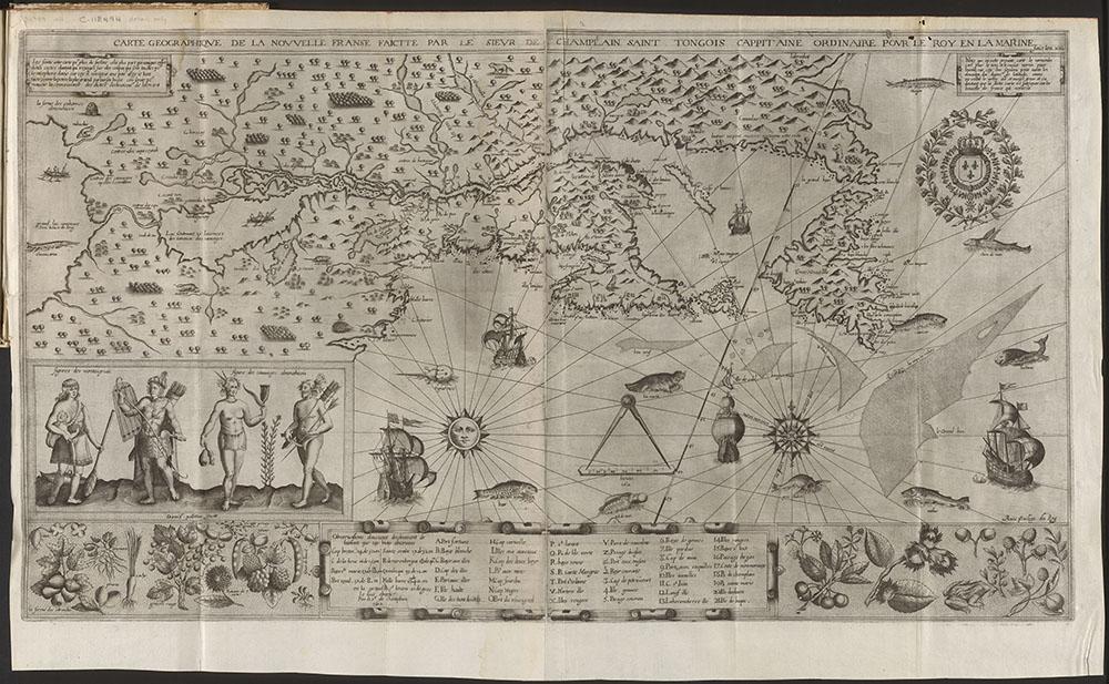 Carte geographique de la Nouvelle Franse faictte par le sieur de Champlain Saint Tongois cappitaine ordinaire pour le roy en la marine. Faict len 1612.