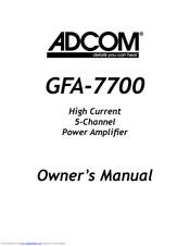 Adcom GFA-7700 V1 Manuals