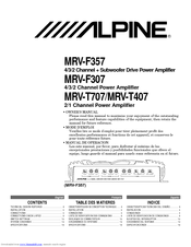 Alpine MRV-F357 Manuals