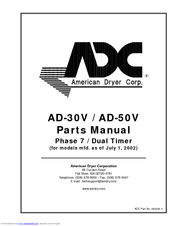 American Dryer Corp. AD-50V Manuals