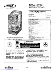 Lennox G50UH-36A-070 Manuals