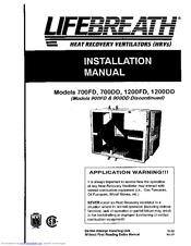 Lifebreath 700DD Manuals