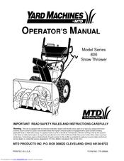 Mtd 800 Series Manuals