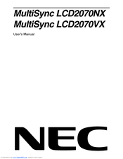 Nec MultiSync LCD2170NX Manuals