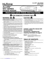 Nutone WS130AA Manuals