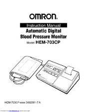 Omron AUTOMATIC DIGITAL BLOOD PRESSURE MONITOR HEM-703CP