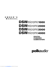 Polk Audio DSW microPRO 3000 Manuals
