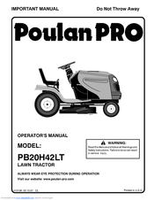 Poulan Pro PB20H42LT Manuals