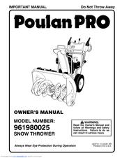 Poulan Pro 961980025 Manuals