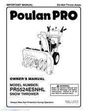Poulan Pro PR5524ESNHL Manuals