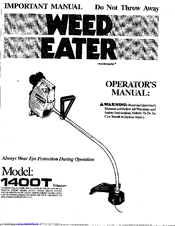 Poulan Pro WEED EATER 1988 Manuals
