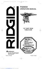 Ridgid Ts3650 Parts Manual