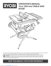 Ryobi BTS20 Manuals