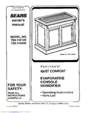 Kenmore Kenmore Quiet Comfort 758.144120 Manuals