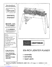 Craftsman Jointer Planer Model 113 Manual