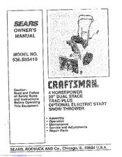 Craftsman 536.885410 Manuals