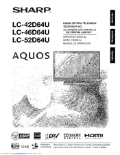 Sharp AQUOS LC-46D64U Manuals